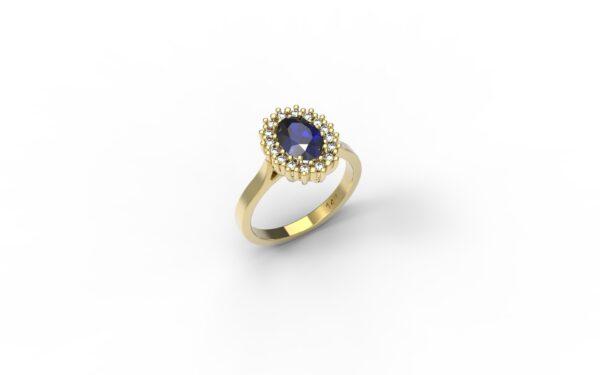 טבעות אירוסין-טבעת זהב אבן ספיר 1.00-1.20