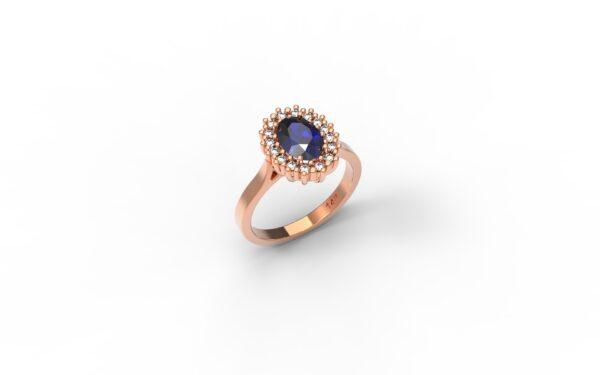 טבעות אירוסין-טבעת זהב אדום אבן ספיר 1.00-1.20