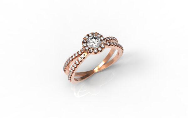 טבעות אירוסין-טבעת זהב אדום משולבת יהלום 0.25