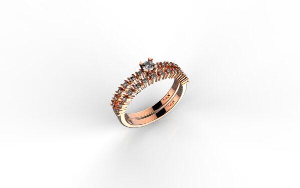 טבעות אירוסין-טבעת זהב אדום יהלום 0.10