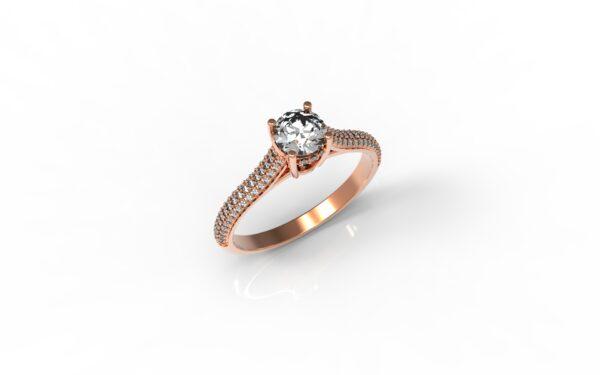 טבעות אירוסין-טבעת זהב אדום יהלום 0.50