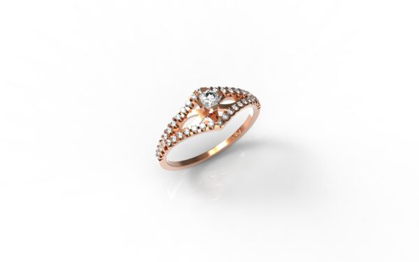 טבעות אירוסין-טבעת זהב אדום יהלומים 0.20