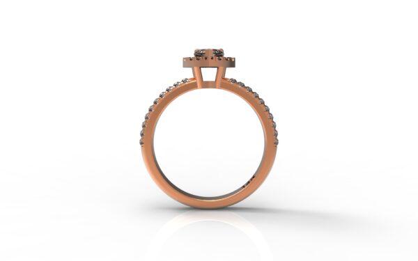 טבעות אירוסין-טבעת זהב אדום יהלום 0.25 פרונטלי