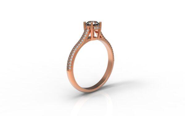 טבעות אירוסין-טבעת זהב אדום פרונטלי יהלום 0.50