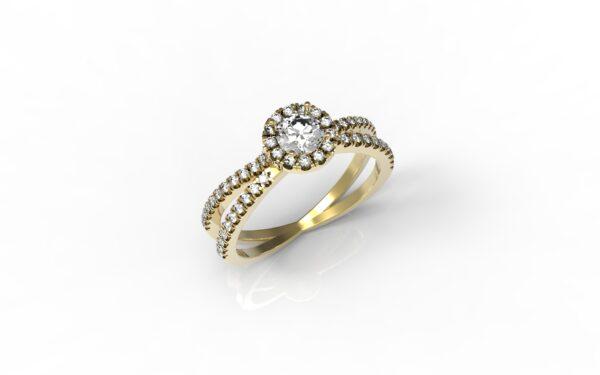 טבעות אירוסין-טבעת זהב משולבת יהלום 0.25