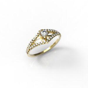 טבעות אירוסין-טבעת זהב יהלומים 0.20