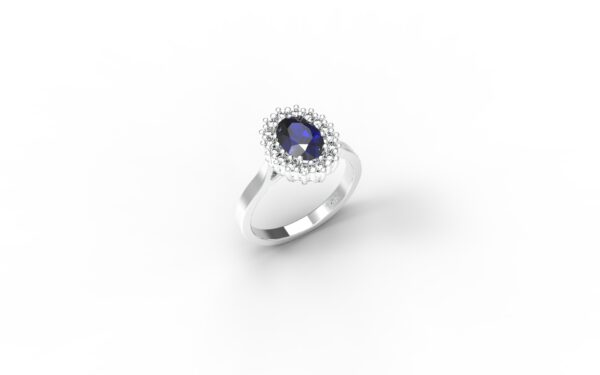 טבעות אירוסין-טבעת זהב לבן אבן ספיר 1.00-1.20
