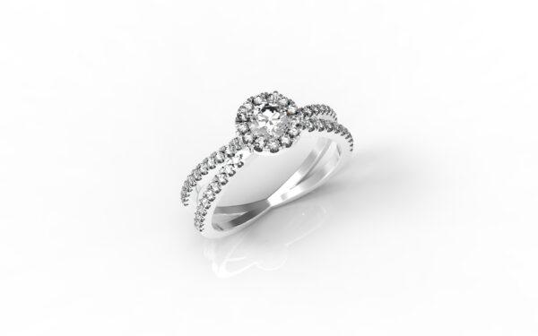 טבעות אירוסין-טבעת זהב לבן משולבת יהלום 0.25