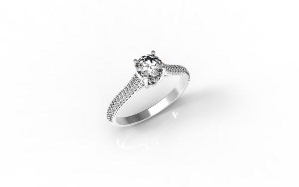 טבעות אירוסין-טבעת זהב לבן יהלום 0.50