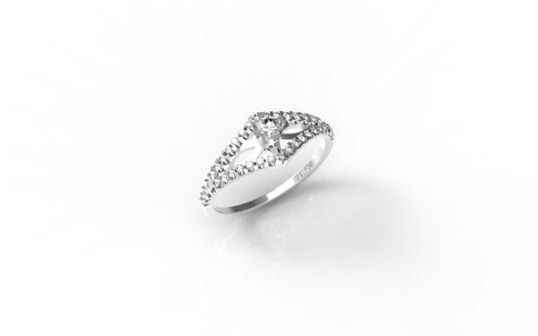 טבעות אירוסין-טבעת זהב לבן יהלומים 0.20
