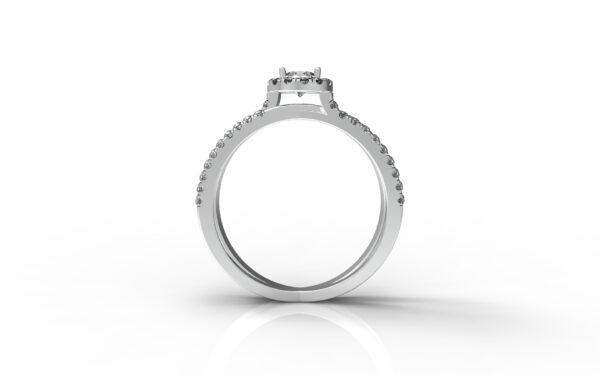 טבעות אירוסין-טבעת זהב לבן משולבת יהלום 0.25 פרונטלי
