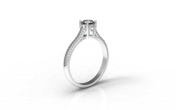 טבעות אירוסין-טבעת זהב לבן פרונטלי יהלום 0.50