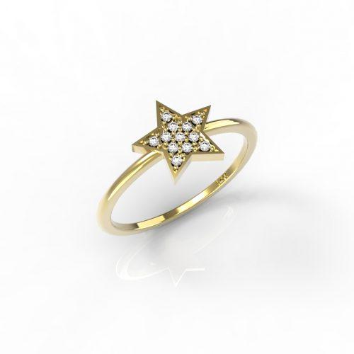 טבעות זהב-טבעת זהב יהלומים כוכב