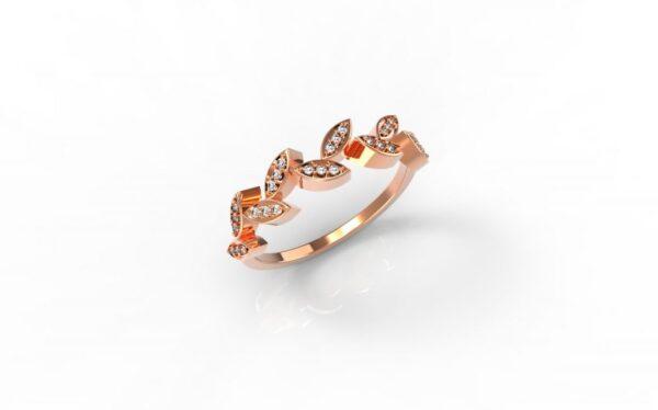 טבעות זהב-טבעת זהב אדום יהלומים עלים 0.12
