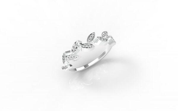 טבעות זהב-טבעת זה בלבן יהלומים עלים 0.12