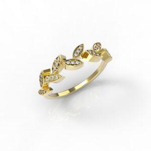טבעות זהב-טבעת זהב יהלומים עלים 0.12