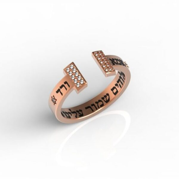 טבעות שמות-טבעת זהב אדום משובצת עם שמות הילדים