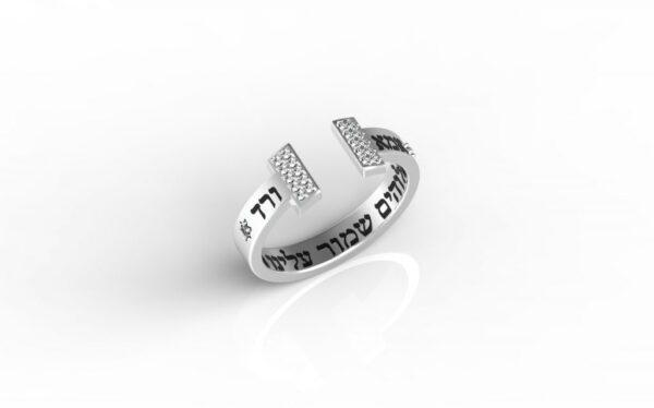 טבעות שמות-טבעת זהב לבן משובצת עם שמות הילדים