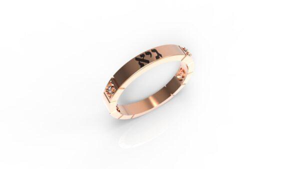 טבעות שמות-טבעת זהב אדום עם שם ריבועים