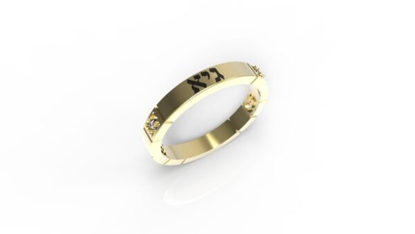 טבעות שמות-טבעת זהב עם שם ריבועים