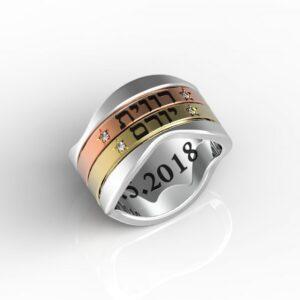 טבעות שמות-טבעת תאריך חתן וכלה זהב משולב