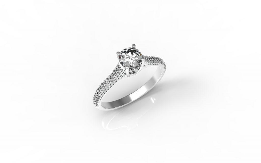 טבעות אירוסין - טבעת יהלום זהב לבן 0.50